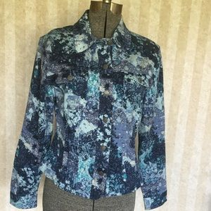 Christopher & Banks Print Jean Jacket